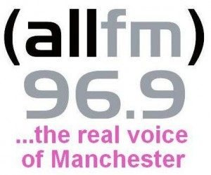 "logo for ALL FM 96.9 community radio, with caption that reads ""... the real voice of Manchester"""